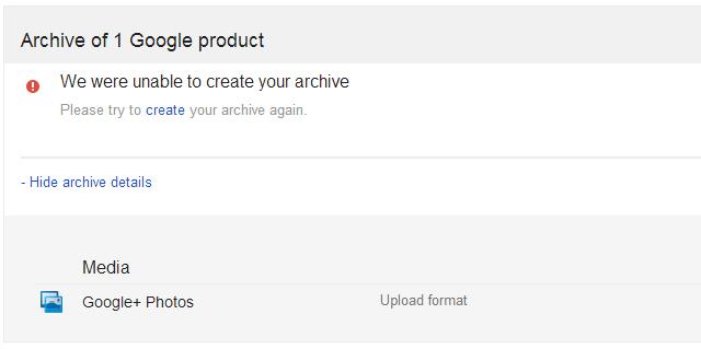 Google Takeout Failed Error