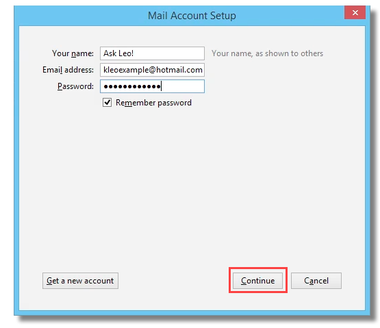 Add Hotmail account to Thunderbird