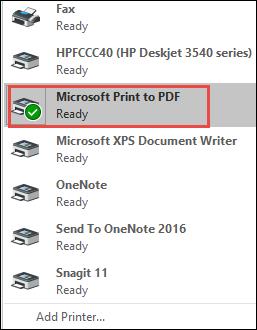 click drop-down arrow and select Microsoft Print to PDF