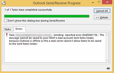 Outlook sending and receiving eror