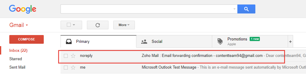 forwarding zoho mail to gmail