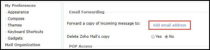zoho mail forwarding to gmail acccount