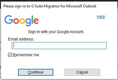 enter gmail address to import PST file