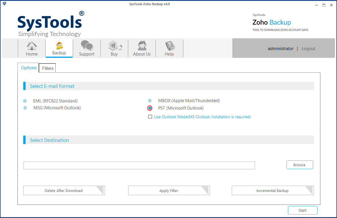 select pst to export zoho emails