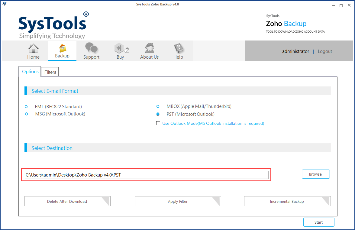select location to save zoho mail in pst file