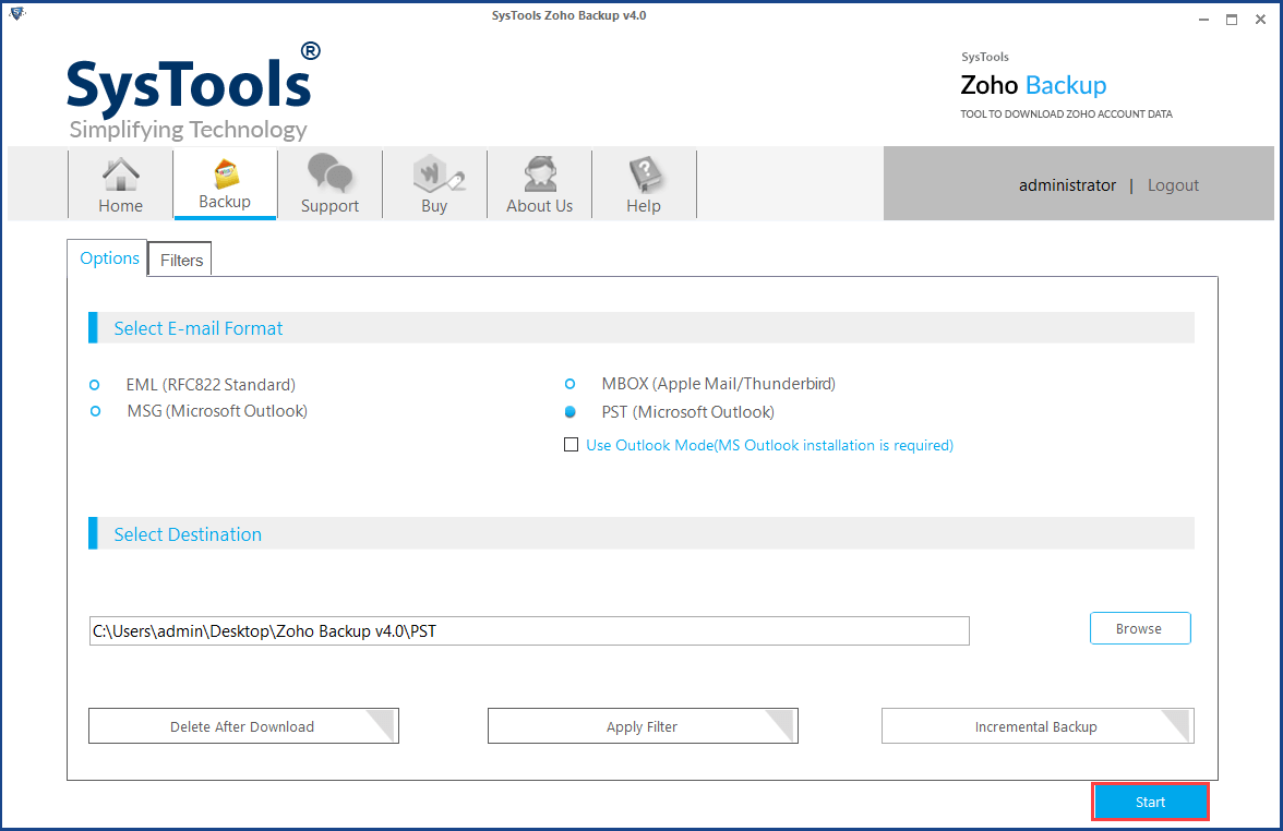 export zoho emails to pst file