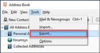 Export Thunderbird AutoComplete to Outlook 2016, 2013, 2010