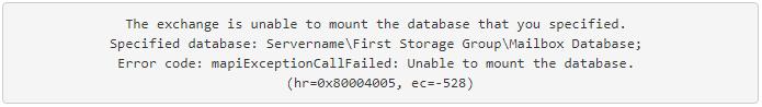 unable to mount database