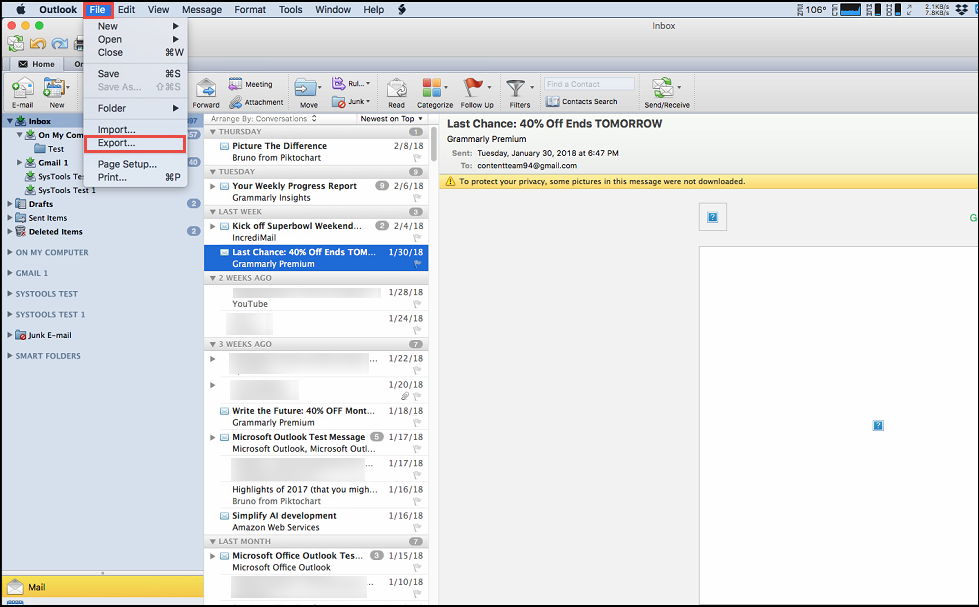 import Outlook OLM file to Apple Mail