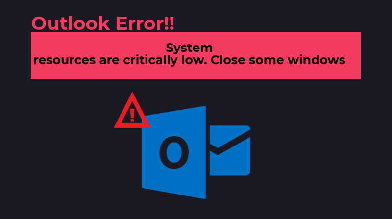 Outlook 2010 System Resources Are Critically Low Close Some