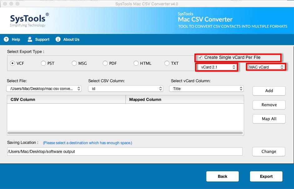 CSV to vCard Mac Converter