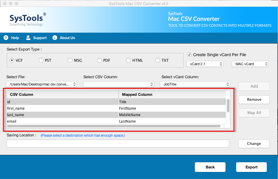 SysTools CSV to vCard for Mac Software