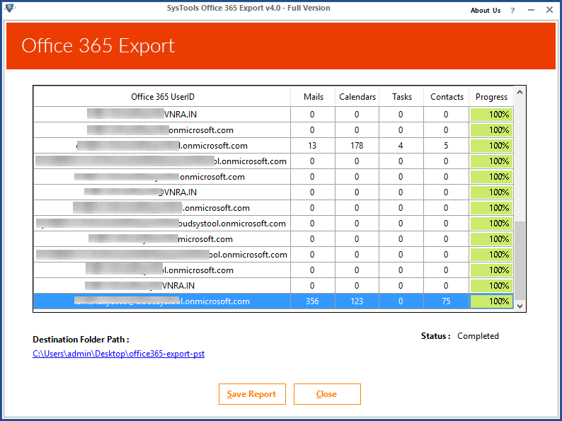 Emails Exported from O365 Successfully