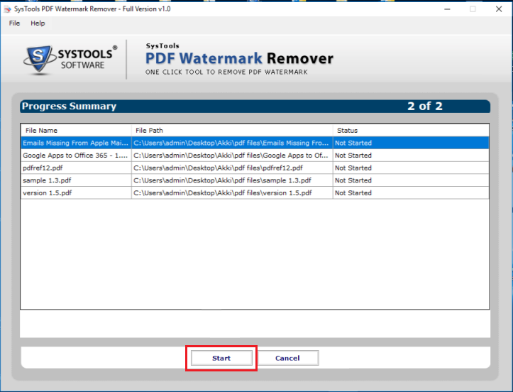 remove draft watermark from PDF document
