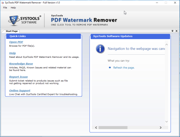 start PDF Text Watermark Remover
