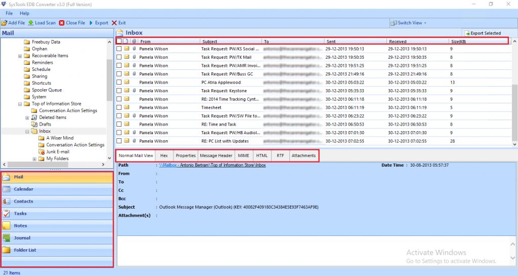 preview exchange database file, mailbox and its items