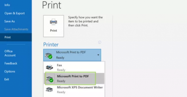 Outlook - Print Multiple Emails to PDF