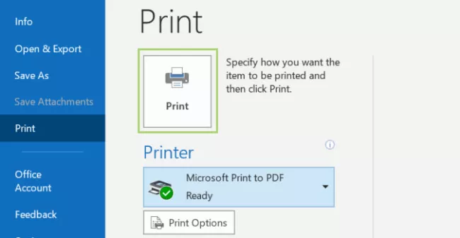 Print Multiple Emails to PDF in Outlook