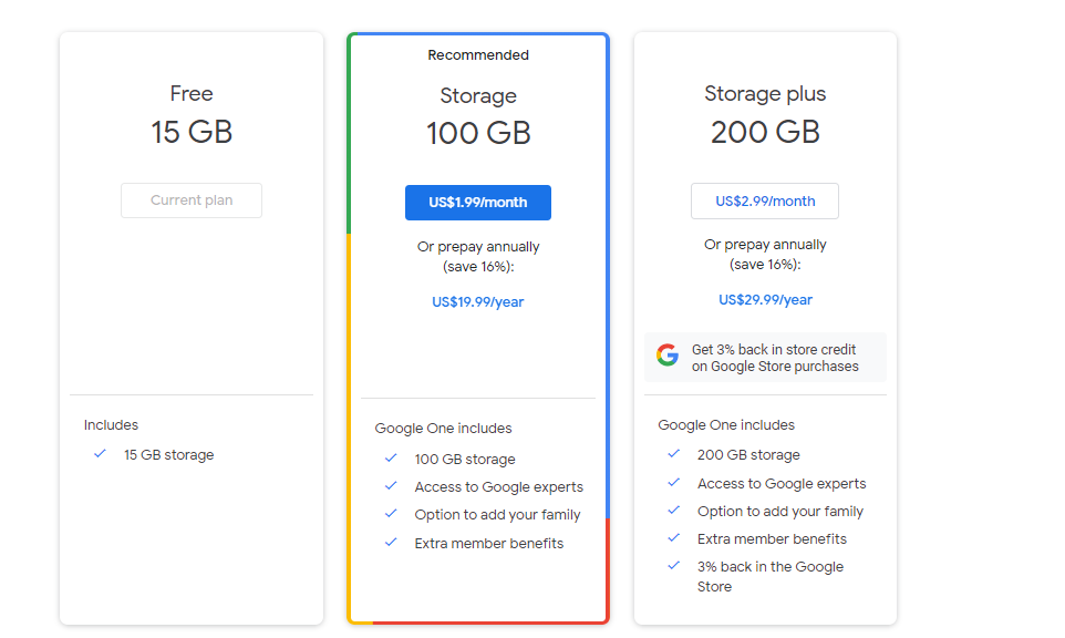 purchase subscription to increase Gmail storage space