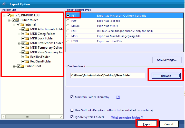 select pst export option