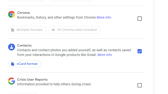 select contacts to export google takeout