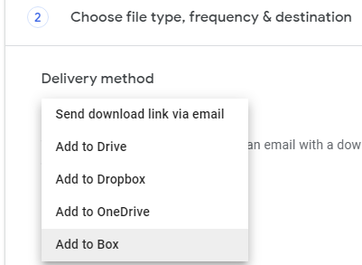 select the delivery method in google takeout