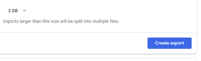 create export in google takeout